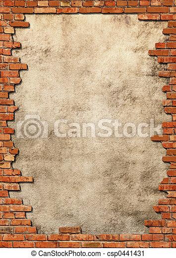 ściana, grungy, cegła, ułożyć - csp0441431