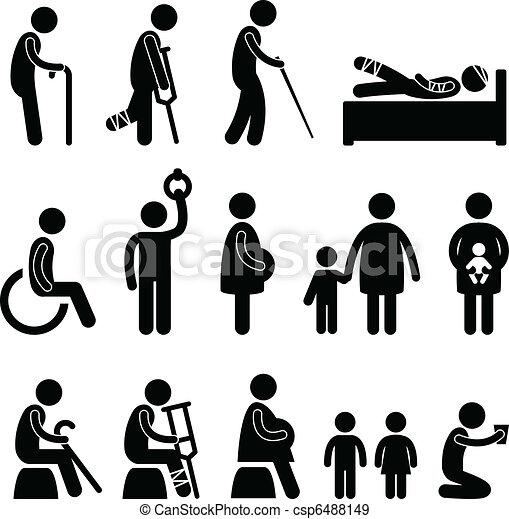 ślepy, stary, disable, pacjent, człowiek, ikona - csp6488149