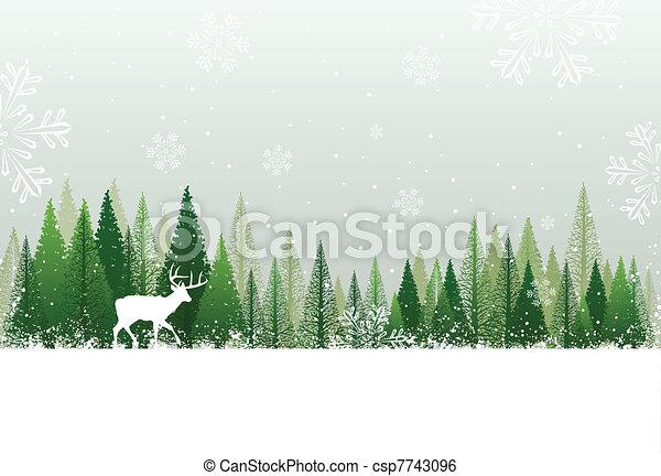 śnieżny, las, tło, zima - csp7743096