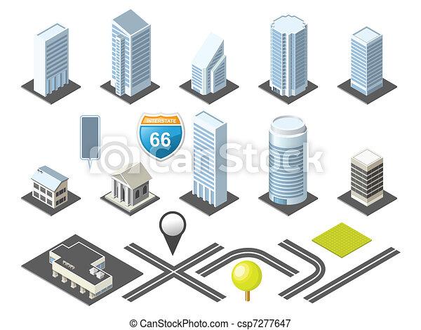 śródmieście, mapa, isometric, toolkit - csp7277647