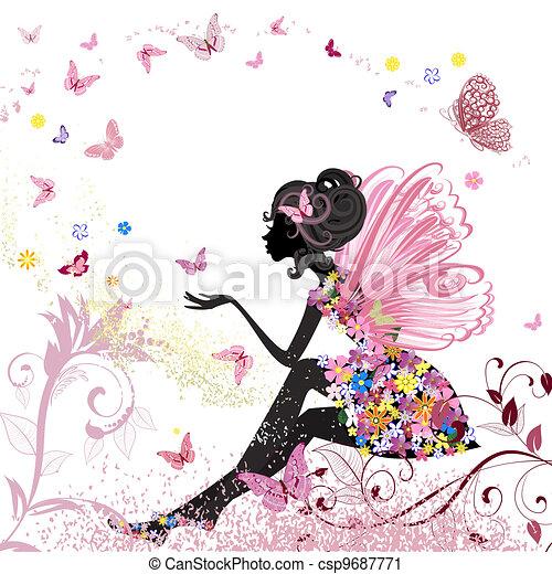 środowisko, motyle, kwiat, wróżka - csp9687771