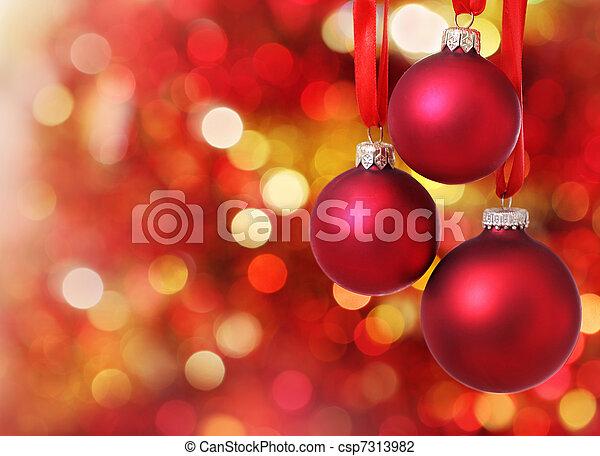światła, drzewo, tło, ozdoby, boże narodzenie - csp7313982