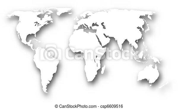 świat, biały, mapa - csp6609516
