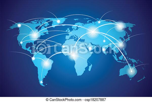 świat, globalna sieć, mapa - csp18207887