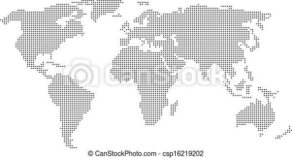 świat, kropkowany, mapa - csp16219202