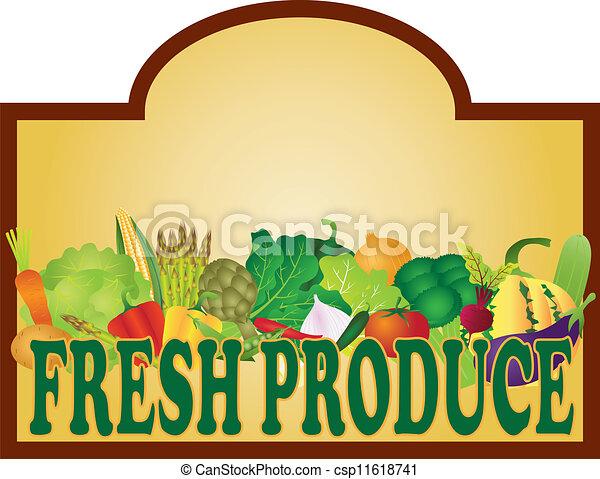 świeża produkcja, ilustracja, signage - csp11618741