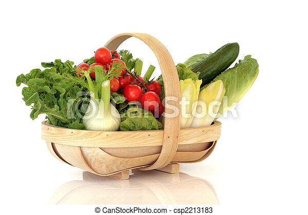 świeża zielenina, kosz, sałata - csp2213183