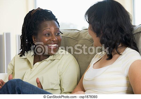 życie pokój, dwa, mówiąc, uśmiechanie się, kobiety - csp1878393