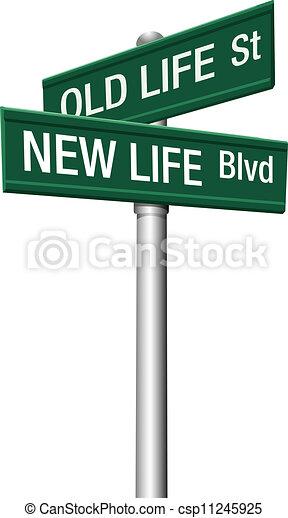 życie, stary, uliczne oznakowanie, nowy, albo, zmiana - csp11245925