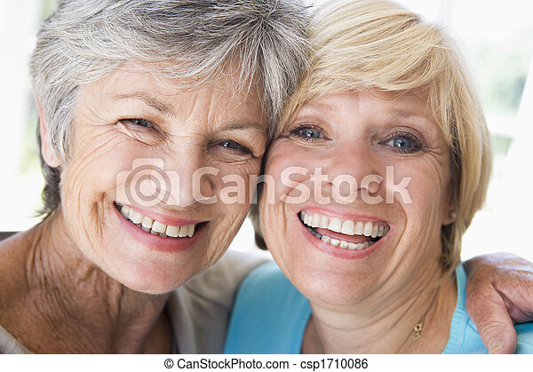 żyjący, uśmiechanie się, kobiety, pokój, dwa - csp1710086