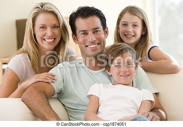 żyjący, uśmiechanie się, pokój, rodzina, posiedzenie - csp1874051