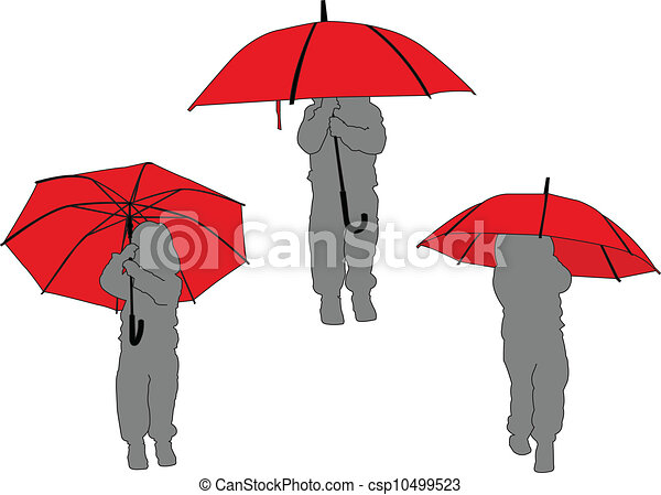 -, litlle, wektor, parasol, dziewczyna - csp10499523