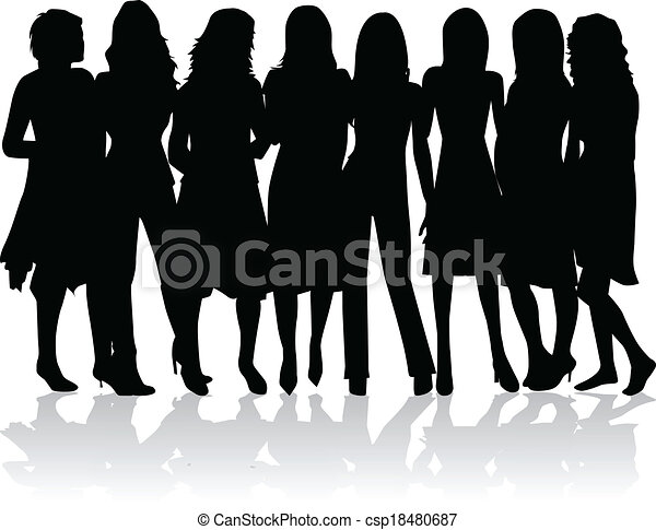 -, sylwetka, kobiety, grupa, czarnoskóry - csp18480687