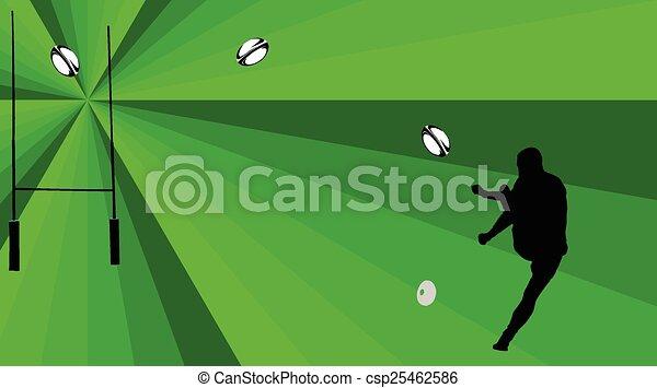 -, vect, rugby, tło, gracz - csp25462586
