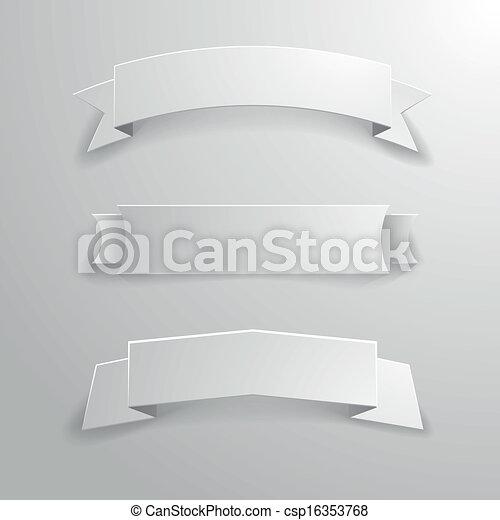 01, chorągiew, wstążki, biały - csp16353768