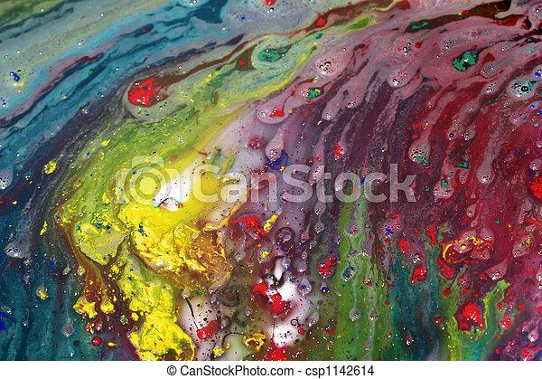 abstrakcyjne malarstwo, mokry - csp1142614