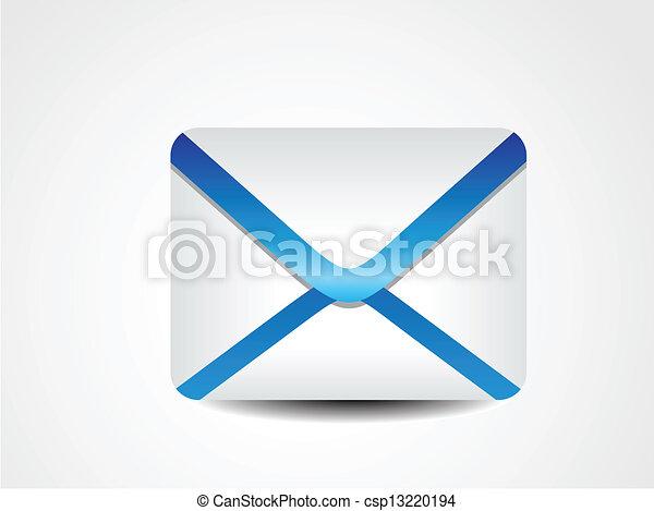 abstrakcyjny, błękitny, ikona, wektor, poczta - csp13220194