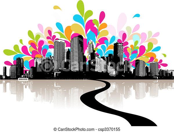 abstrakcyjny, city., ilustracja - csp3370155