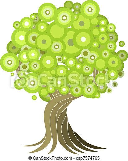 abstrakcyjny, drzewo, ilustracja - csp7574765