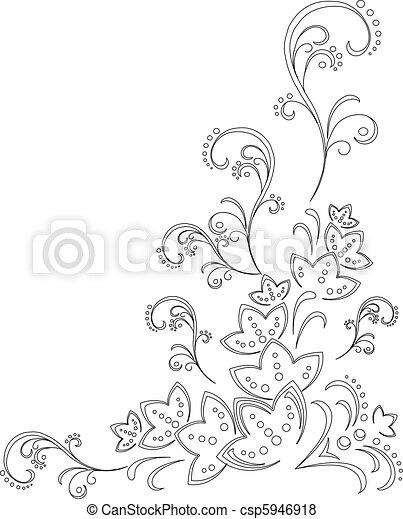 abstrakcyjny, tło, kwiat, kontur - csp5946918