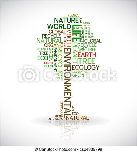afisz, abstrakcyjny, ekologia, -, drzewo - csp4389799
