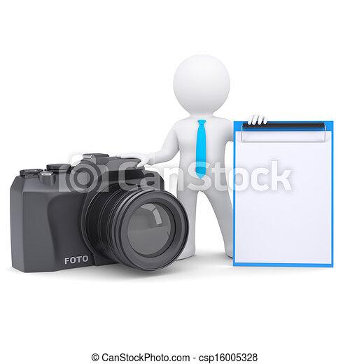 aparat fotograficzny, 3d, człowiek - csp16005328