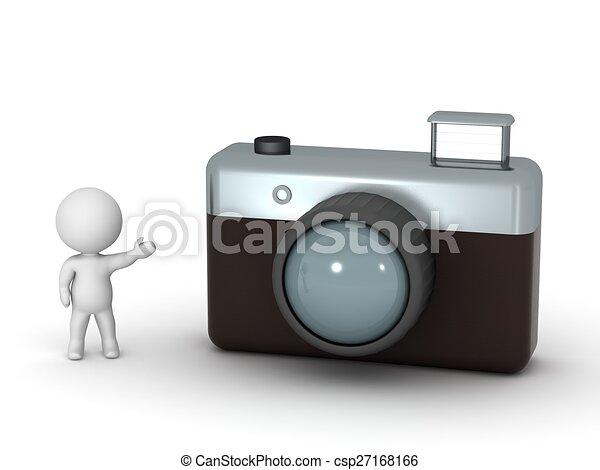 aparat fotograficzny, litera, pokaz, 3d, fotografia - csp27168166