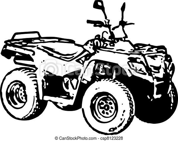 atv., cztery-koła, motorower, vector. - csp8123228