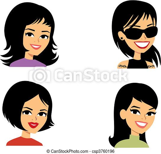 avatar, kobiety, rysunek, ilustracja portretu - csp3760196