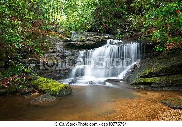 błękitne góry, grzbiet, natura, plama, drzewa, soczysty, trzęsie się, woda, zielony, wodospady, fałdzisty, spokojny, ruch, krajobraz - csp10775734
