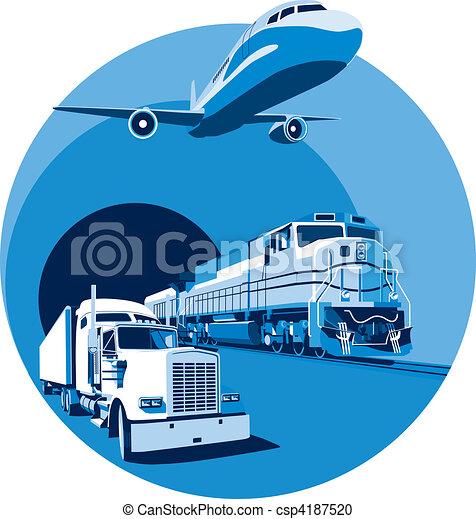 błękitny, ładunek, przewóz - csp4187520