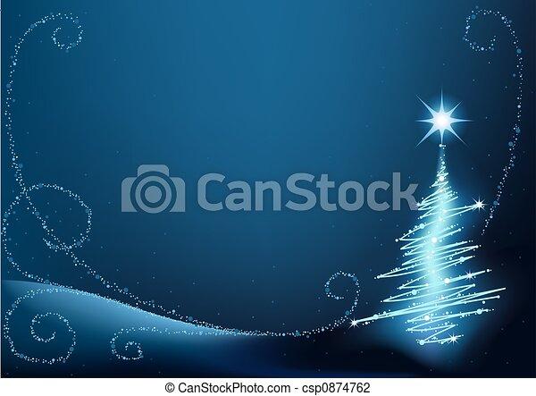 błękitny, drzewo, boże narodzenie - csp0874762