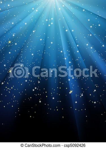 błękitny, eps, tło., gwiazdy, 8, pasiasty - csp5092426