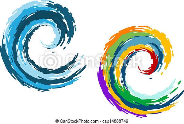 błękitny ocean, barwny, fale - csp14888749
