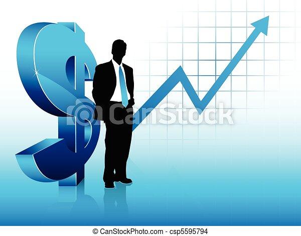 błękitny, pieniężny powodzenie, pokaz, temat, biznesmen, sylwetka - csp5595794
