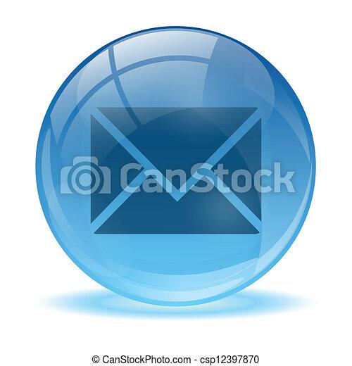 błękitny, poczta, abstrakcyjny, 3d, ikona - csp12397870