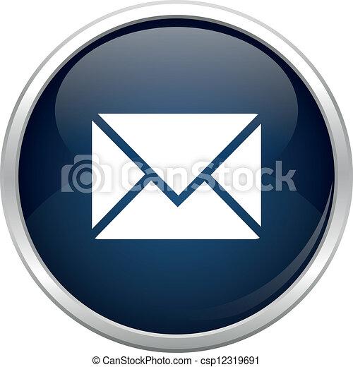 błękitny, poczta, ikona - csp12319691