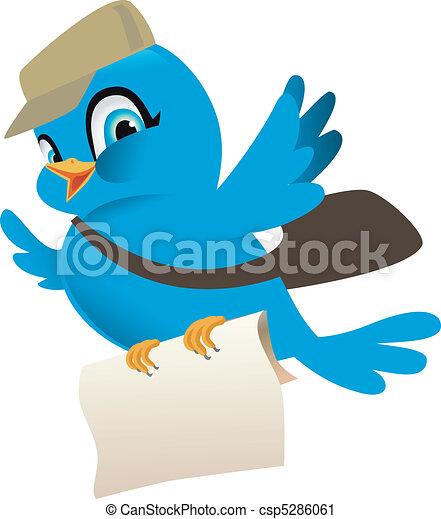 błękitny, poczta, ptak - csp5286061