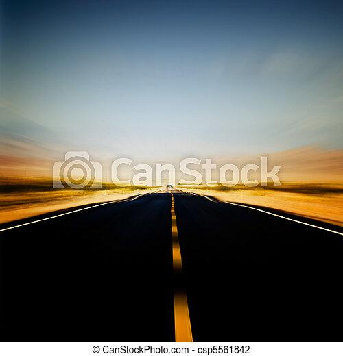 błękitny, wibrujący, wizerunek, niebo, szosa - csp5561842