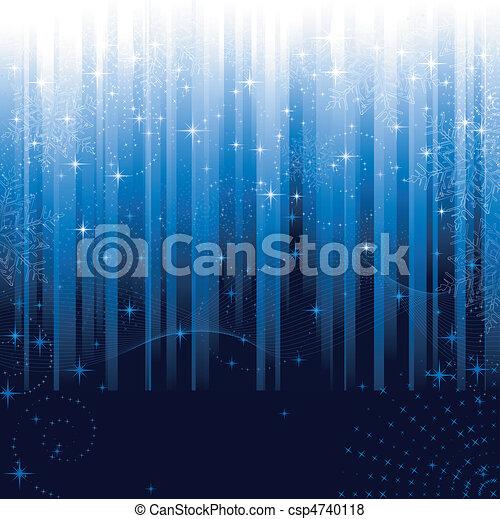 błękitny, wielki, płatki śniegu, świąteczny, próbka, themes., albo, tło., gwiazdy, pasiasty, boże narodzenie, zima - csp4740118