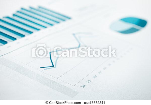błękitny wytonowany, handlowy, wykres, ognisko., selekcyjny, zameldować, dane, print. - csp13852341