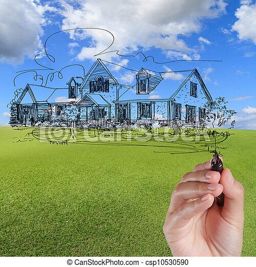 błękitny, zaciągnąć, dom, niebo, przeciw, ręka - csp10530590