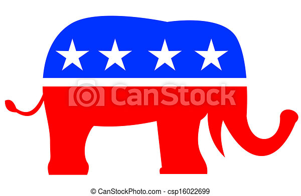 bandera, republikanin, słoń, usa, maskotka - csp16022699