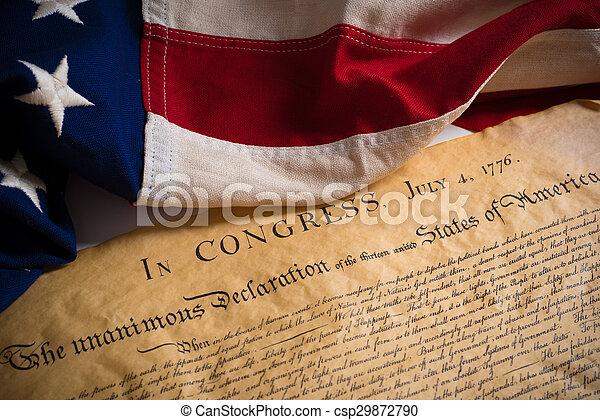 bandera, stany, zjednoczony, deklaracja, niezależność, rocznik wina - csp29872790