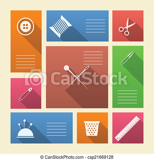 barwny, ikony, tekst, szycie, wektor, miejsce, zaopatruje - csp21669128