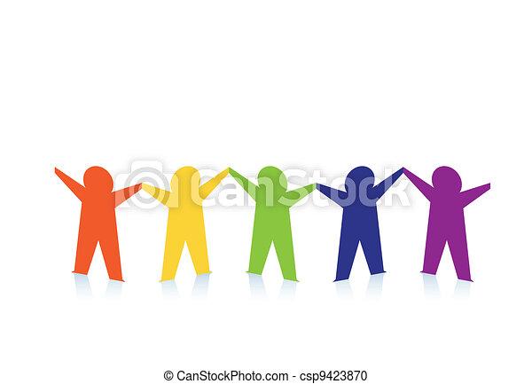 barwny, ludzie, abstrakcyjny, papier, odizolowany, biały - csp9423870