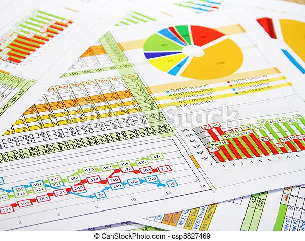 barwny, zbyt kartuje, wykresy, zameldować, cyfry - csp8827469