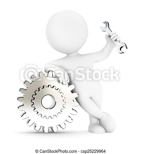 biały, 3d, przybory, ludzie - csp25229964