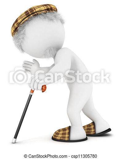 biały, człowiek, stary, 3d, ludzie - csp11305780