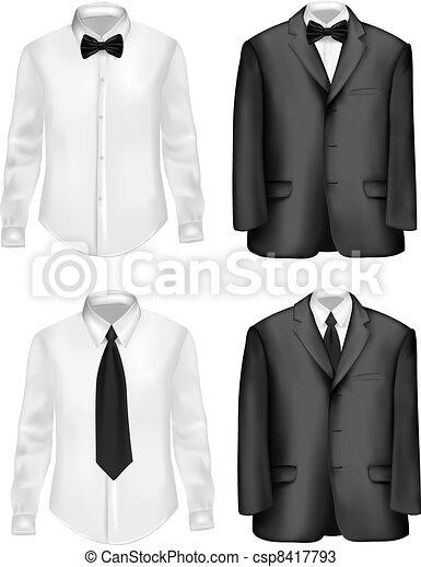 biały, czarnoskóry, koszule, garnitur - csp8417793